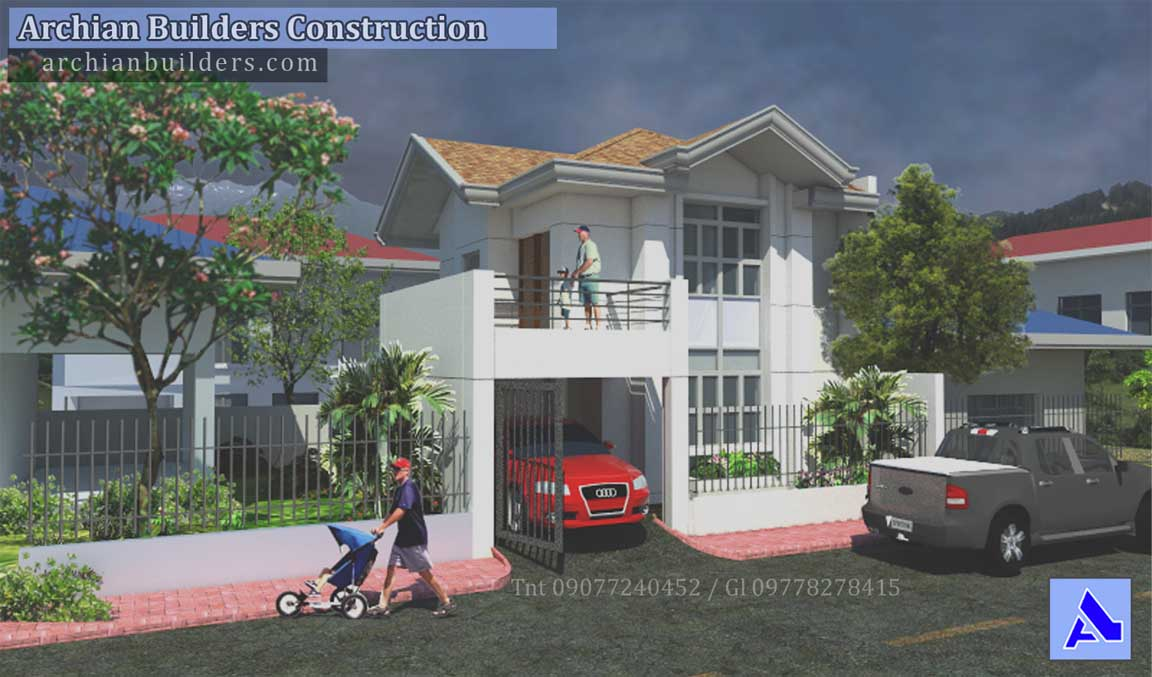 2 storey House with high ceiling garage and slate roof and balcony front view